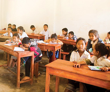 Aldape is looking for donations of musical instruments to bring to Laotian students.  Courtesy Pencils and Pens