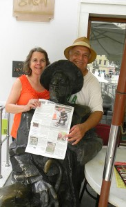 Kathy and Hank Tarbi recently traveled to Croatia and are seen here posing by a statue of James Joyce in Pula, Croatia.  Joyce was in search of work and had been promised employment elsewhere. Ultimately he ended up in Pula where finally, the Berlitz school had an opening for teaching English. I'm sure Joyce would be very pleased with the Stow Independent.