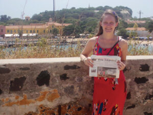 Rozzie Kopczynski on Goree Island, Senegal, Point-de-Depart during the Transatlantic slave trade, and later site of a French fort that was in use as recently as WWII. Rozzie  is living in Senegal, West Africa this fall as part of her international development studies at George Washington U.