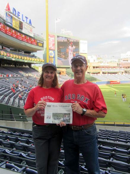 Warren and Brenda Mason at Turner Field in Atlanta. The Houston Astros and the Texas Rangers were also visited on this trip in their quest to visit all 30 major league ball parks.  Only 5 left!
