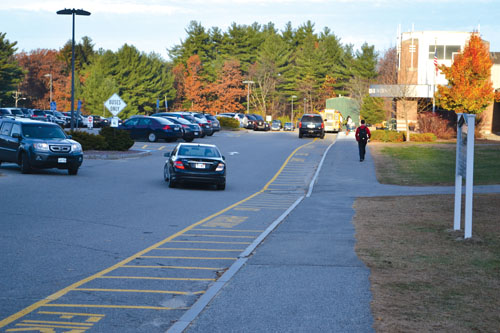Cars continue to drop off students in the bus lane.                                          Ann Needle