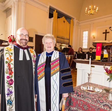 Rev. Richard Jones and Rev. Beatrice Manning at Manning's installation as Associate Pastor in The First Parish of Bolton on Sunday, November 23.                                                                      Adrian Flatgard; frequentflyerphotographer@gmail.com