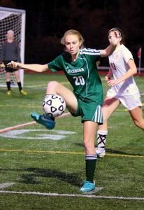 Senior Hanna Konash kicked in the winning goal in double overtime.  Susan Shaye