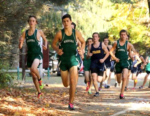 Nashoba runners (l-r) Kyle Cloutier, Senior Captain Adam Heislein, Ryan Gillooly.                             Susan Shaye; File photo
