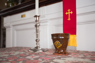 Rev. Bea Manning's clay chalice used in the worship service.                                                Adrian Flatgard