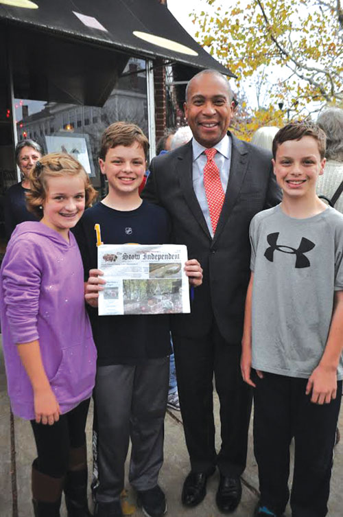 Audrey, Patrick and Casey Arsenault enjoyed an impromptu meeting with Massachusetts Governor Deval Patrick in Maynard last month. The Govenor gave Patrick tips on running an election campaign for middle school student council.