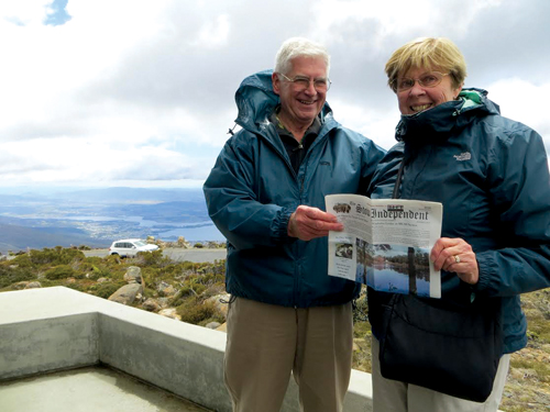 Gen and Joe Sullivan hold fast to their Stow Independent atop windy Mt. Wellington in Hobart, Tasmania -- one of several ports of call on their recent cruise around New Zealand and over to Australia with a group of fellow amateur International Folk Dance enthusiasts.  As in New Zealand and later in Sydney, the group was able to tour local sites of cultural and historical importance and to enjoy a dance party with a local International Folk Dance club.