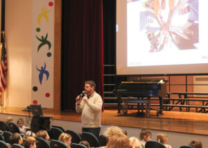 Florence Sawyer School Principal Joel Bates teaches students how to prevent and react to medical emergencies triggered by food allergies.          Courtesy