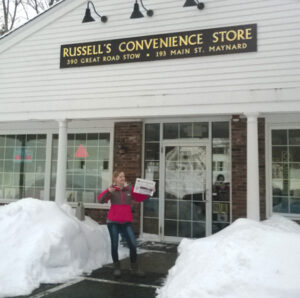 Neither rain nor wind nor a blizzard of snow stopped Becca Bremer from delivering The Stow Independent to area stores on Wednesday, January 28 .