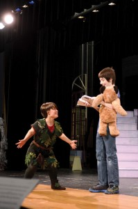 Peter Pan (Lindsey Hawkes, left) charms Michael Darling (Zachary Stepp).                  Jonathan Daisy
