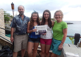 Gordon and Gwen Landis of Stow, with Emmeline Weeks and Carole Seidenpfennig of Maynard, at the Rockhouse in Negril, Jamaica.