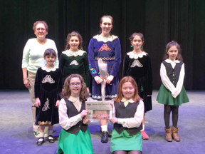 On Sunday March 15, the Irish American Step Dancers performed their big St. Patricks day performance at Montachusett Regional Vocational Tech High School in Fitchburg.    Stow has seven dancers in the troupe.  1st Row:  Jennifer Kearney (2nd year); Avery Cullen (2nd year); Back Row:  Anne O'Connell Boucher, Instructor; Lauren Barrett (3rd year);  Maura Hall (4th year);  Emma Castle (10th year); Helen Barrett (4th year); Kathleen Kearney (2nd year).