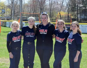 "Members ot the 12U ""Heat"" softball team: (l - r) Kaitlyn Hollister (Stow), Celia Vinacco (Bolton), Heather Malone (Bolton - NRHS class of 2012), Lauren Bechara (Bolton), Anna Zeh (Lancaster)."