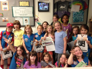 Stow First Grade Daisy Girl Scouts recently visited Buddy Dog shelter in Sudbury and donated dog and cat supplies as part of their year-long 'Animal Journeys' program.