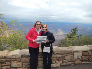 """Stow's Christine Midwood and Lara Sosnosky (from Kirkland, WA) hiked across the Grand Canyon in late May!  Christine wrote, """"We started at the top of the North Rim and hiked 14 miles down to the Colorado River (an elevation loss of 5800 feet).  After two nights at Phantom Ranch, we hiked 10 miles up to the South Rim (elevation gain of 4400 feet).  It was an incredible trip - the scenery is breathtaking and it changes as you descend through the layers of the canyon.  This photo was taken from the South Rim after a good meal and a hot shower!"""""""