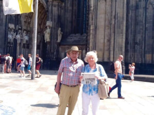 Jack and Carolyn Zettler visiting the Cologne Cathedral in Germany while traveling on a river boat cruise in Europe.