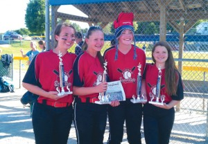 The Stow girls,  Emma Castle, Julia Straub, Brie Donahue & Maggie O'Keefe; Softball Players for 14U Hudson Demolition Tournament SB team won the Championship at the Summer Smash Tournament in Charlton, Mass on June 7.  They played a total of 6 games on Sat and Sunday to fight through single elimination play on Sunday to Win.