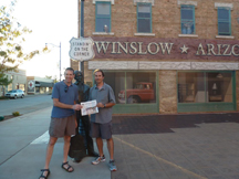 Jim Salvie and Chris Spear are biking across the USA from San Diego to Savannah Georgia in 27 days. On day 6 they rode 110 miles to Winslow AZ and were standing on the corner. They miss the fine Stow apples and look forward to fall in New England.