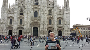 "Donna and Jerry Oemig visited Italy in September.  Donna wrote, ""It was fabulous, and beautiful, and filled with history, art, and gorgeous scenery.""  Jerry is pictured in front of the magnificent Duomo in Milano with the Stow Independent."