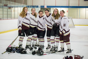 Nashoba players on Algonquin co-op team: (l - r) Krista Flinkstrom, Natalie Brown, Caitlyn Almy, Sarah Johnson, Chloe Spedden, Julia Lane.                             Adrian Flatgard