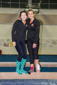 Gymnasts Christine Luke (l) and Jojo Enzmann                                  Adrian Flatgard