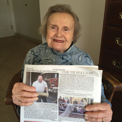 Nancy Kyle, now residing at Whitney Place in Westboro, was gleeful as she read the news of her recently unearthed time capsule. She doesn't remember the contents of the capsule but has very fond memories of her students and teaching.
