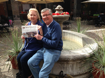 Roy and Diane Miller on their third visit to San Miguel Allende, Mexico. Photo taken at the Biblioteque (library) which is a very active center for films, lectures, and educational events.