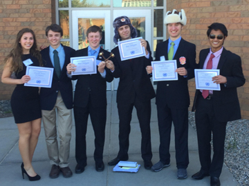 Members of the Model United Nations Club at Nashoba with their awards from the Sandwich High School conference in early May. Students attend conferences, are assigned to delegations, and debate world issues with kids from other schools. Pictured are sophomores Haley Neff, Jack Hurd, Jake Schiering, John Keirouz, Zach Hill (senior), Ihsan Mulyono.                                                                                                       Courtesy