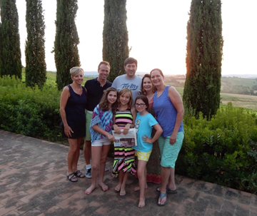 The Dugas and Reiner families reunited with the Gorman family (living in Munich, formerly of Stow) under the Tuscan sun outside Cortona, Italy in July.  Their Roman holiday involved plenty of pasta, wine and of course, gelato!
