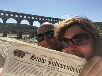 On the third try on windy day, Pete and Jenny Bagdigian snapped a picture with the Stow Independent at Pont du Gard, a Roman aqueduct in Vers-Pont-du-Gard, France.