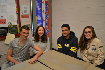 French exchange students visiting Nashoba (left to right): Maxence Petit, Margaux Leroy, Antoine Greffine, and Claire Leportier.