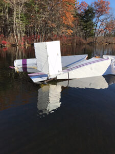 The ultralight went nosedown into the Assabet River               Courtesy Bob Smart