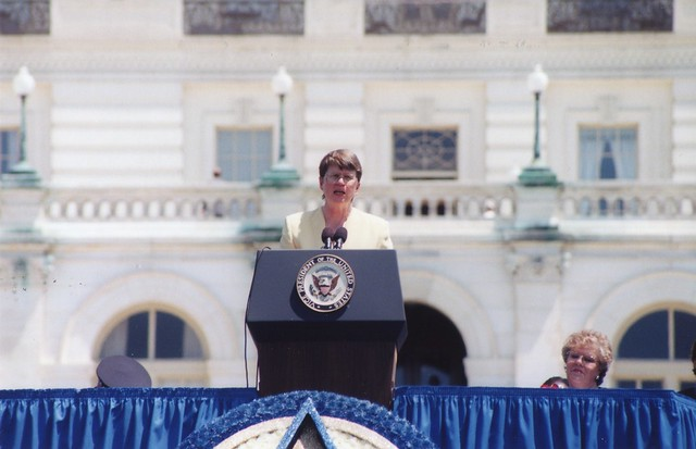 Janet Reno speaking in front of the United States Capitol