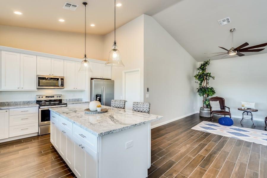 shaker island and kitchen in arizona