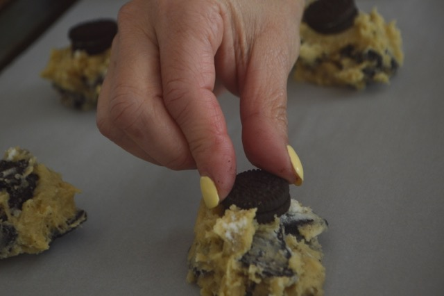 Oreo Chunk Cookie Dough with Mini Oreo on top