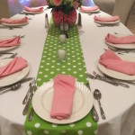adult table with polka dot theme