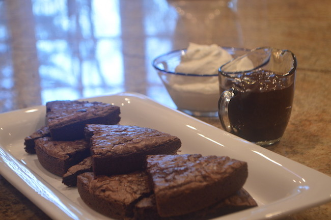 Hot Brownies with Whipped Cream & Hot Fudge
