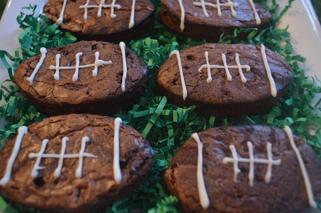 Brownies in the shape of footballs
