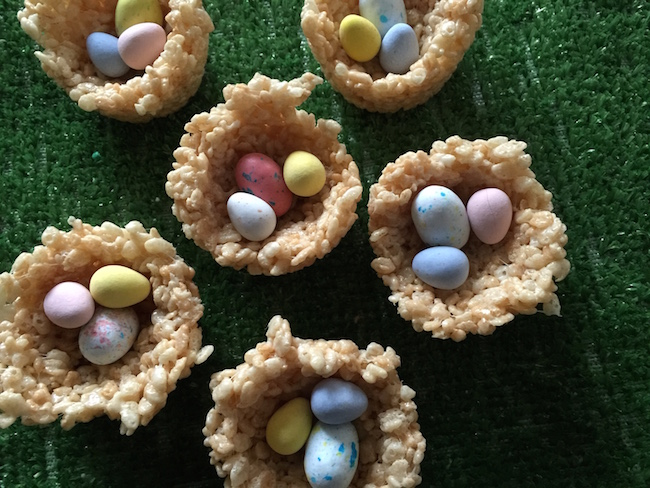 Rice Krispies Easter Egg nest with candy eggs