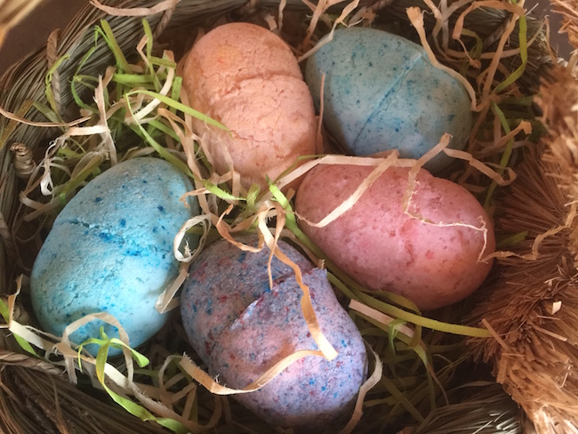 bath bomb in the shape of Easter eggs