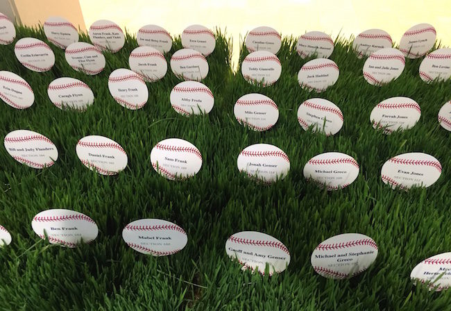 Baseball shaped place Cards in real grass