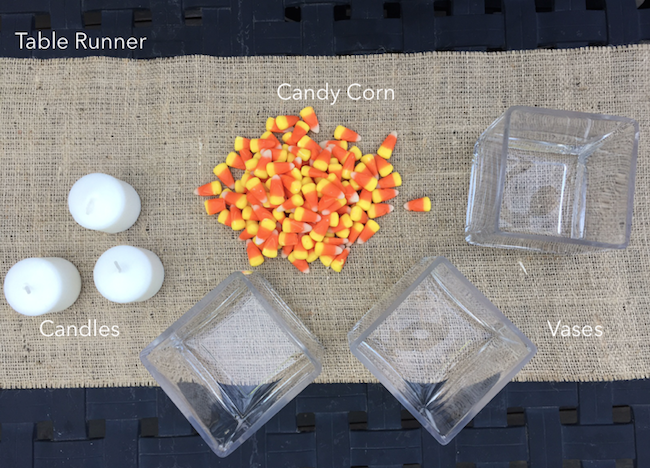 Candy Corn Candle Centerpiece Supplies
