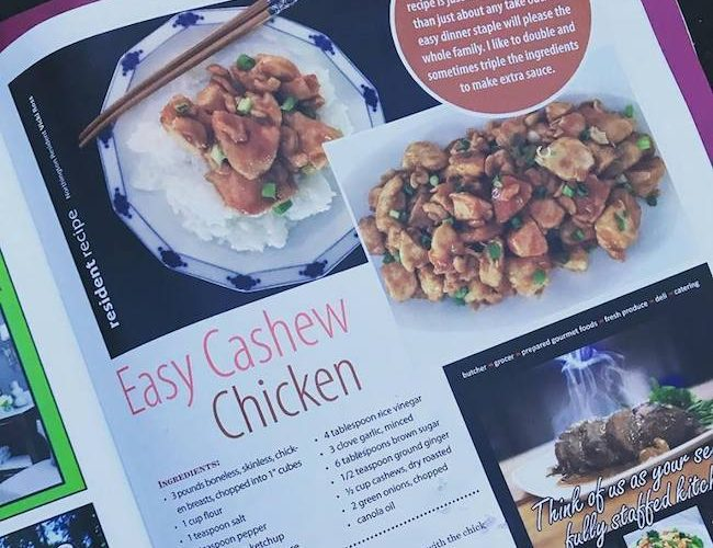 Cashew Chicken Recipe in Northington Living Magazine