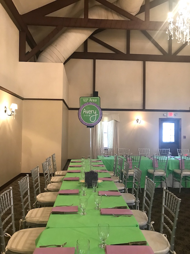 Purple and Green Colr Scheme Bat Mitzvah Party