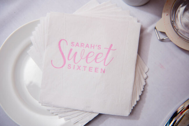 Logo'd cocktail napkins