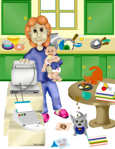 computer generated artwork created in photoshop of messy kitchen stay at home mom and new baby