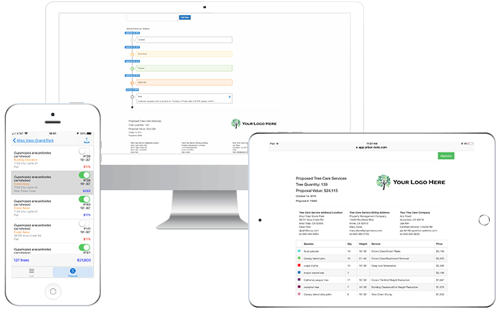 images of ArborNote CRM on various devices