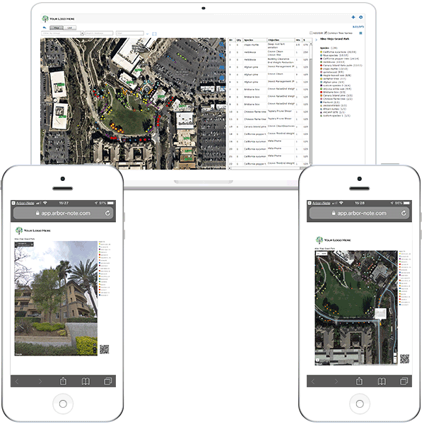 images of ArborNote being shared on various devices