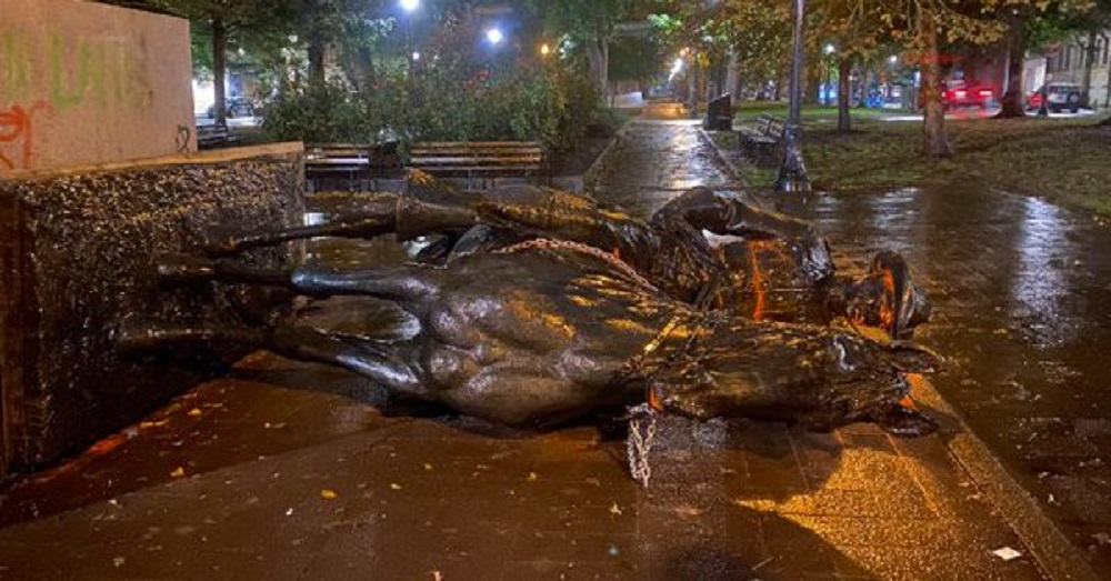 Theodore Roosevelt Statue down