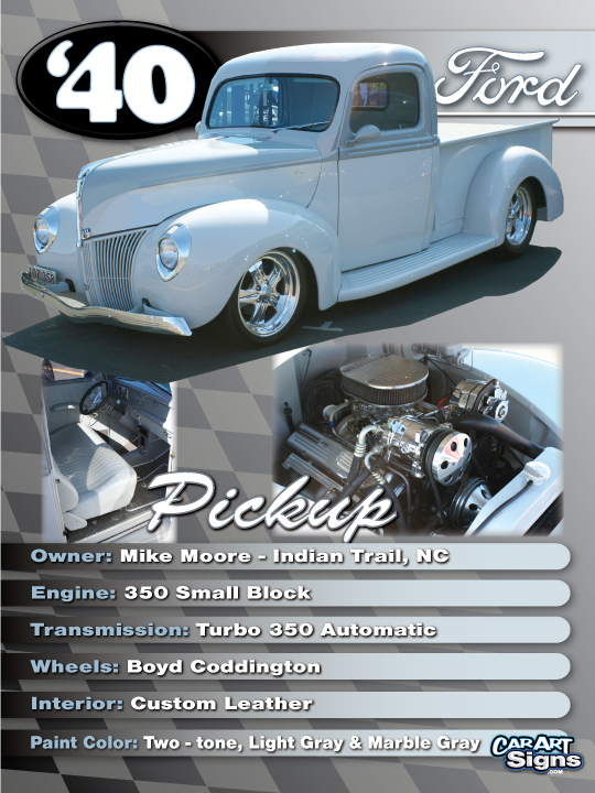 Ford '40 Show Board